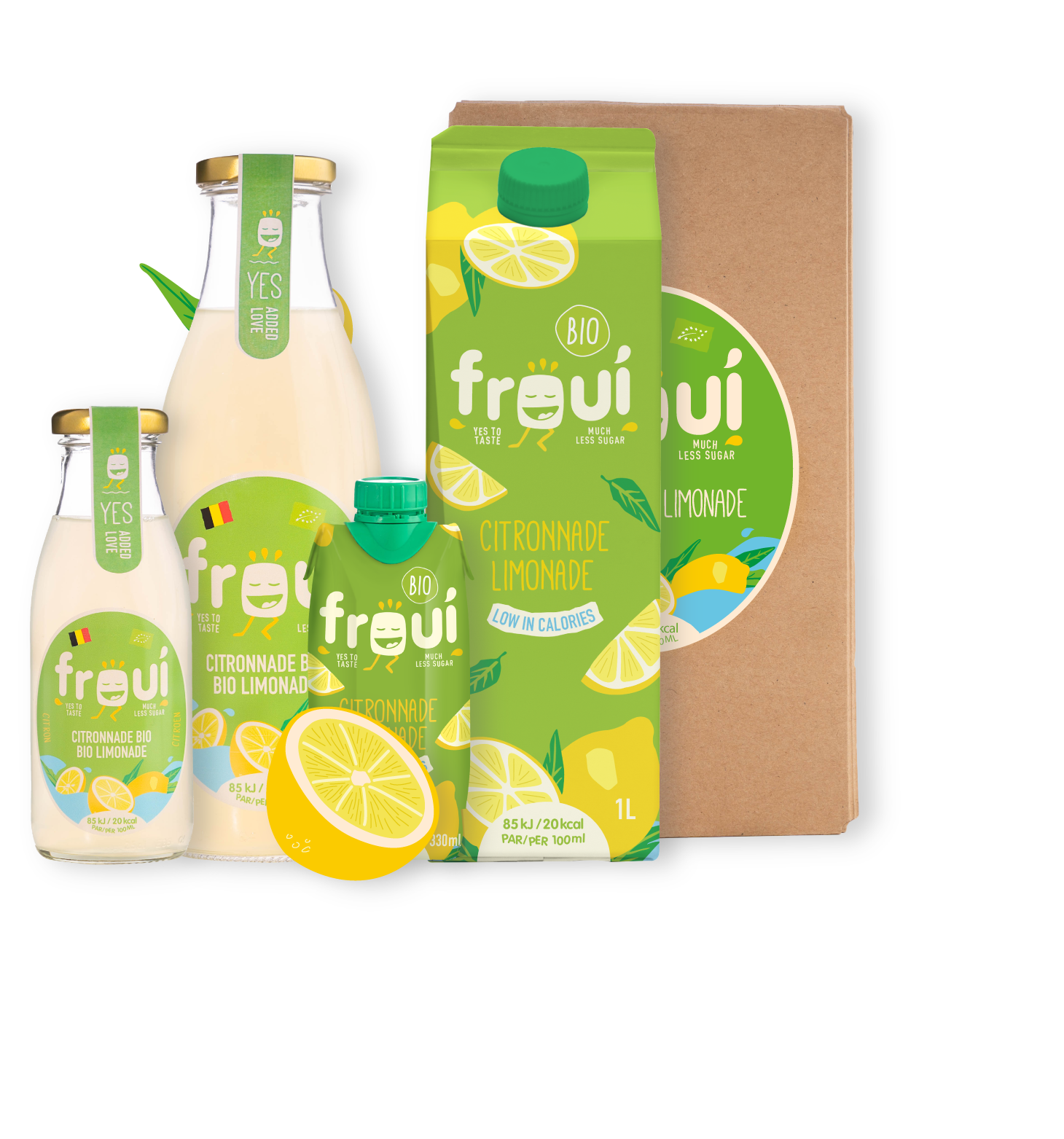 froui lemon drinks in several sizes