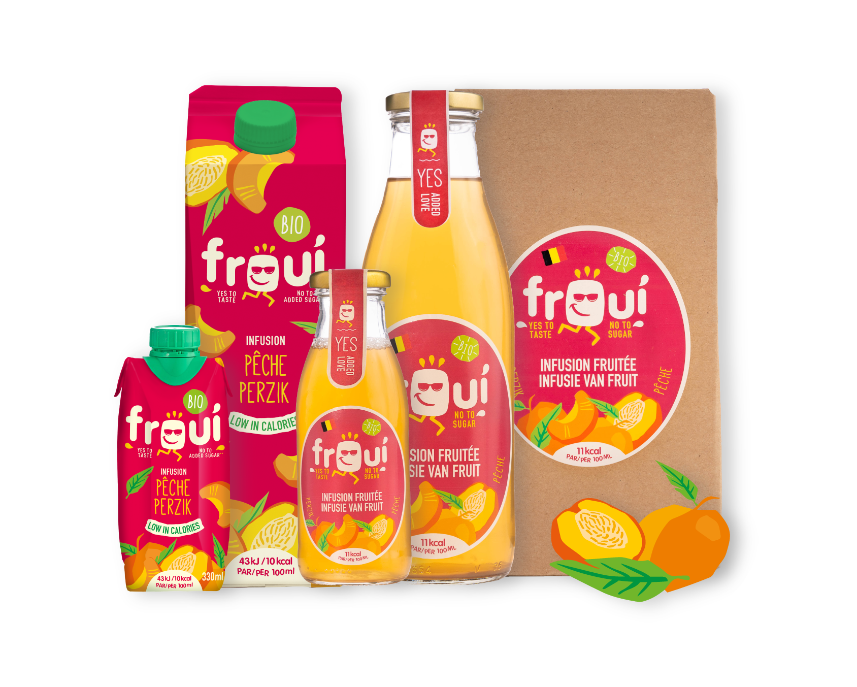 froui peach drinks in several sizes